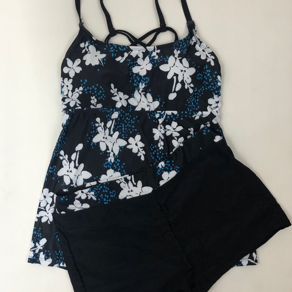 Tankini Swimsuit With Floral Design